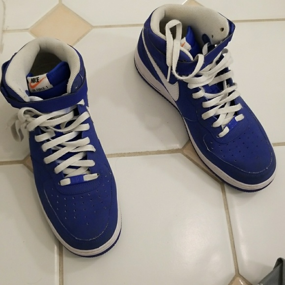 Blue Nike AIR force 1 high tops size 12. No trades